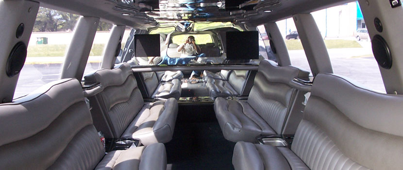 24 Pax Ford Excursion Limo Interior