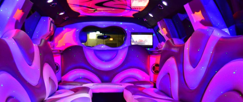 Luxury Pink Hummer Limo Interior